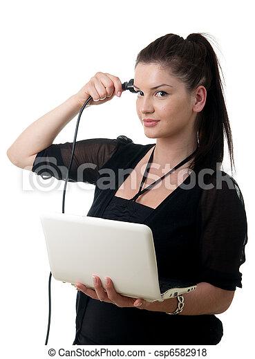 young woman powercord brain - csp6582918