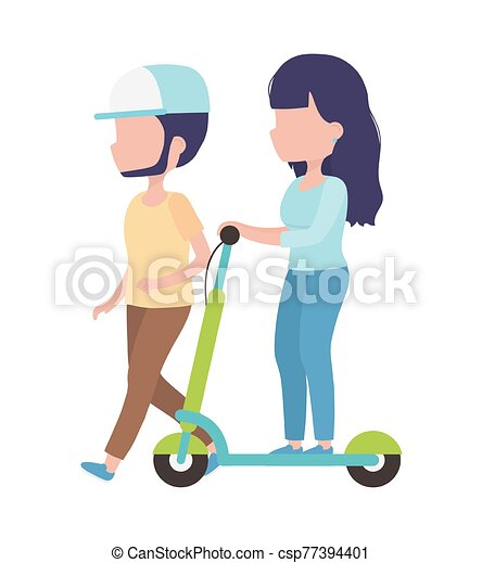 young woman riding electric scooter and man walk couple woman riding electric scooter and man walk healthy lifestyle vector can stock photo