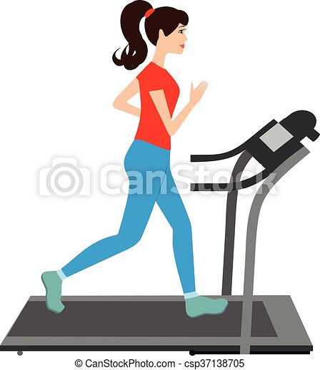 Young woman runs on a treadmill. sports trainer. young ...