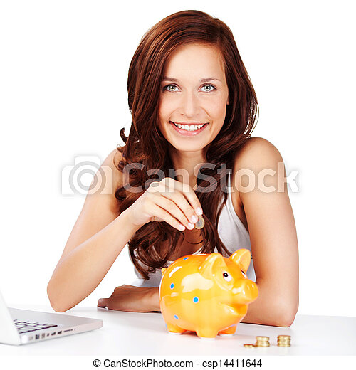 Young woman saving her change in a piggy bank - csp14411644