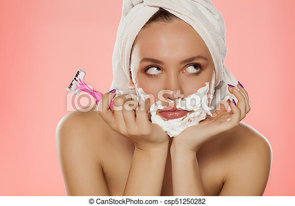 Face of adult woman with dry skin in circles. - csp50223259