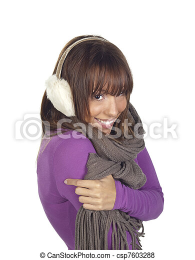 Young woman shivering wearing ear muffs and scarf  - csp7603288