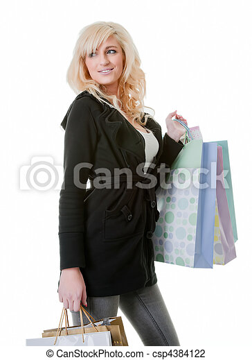 young woman shooping isolated on white - csp4384122