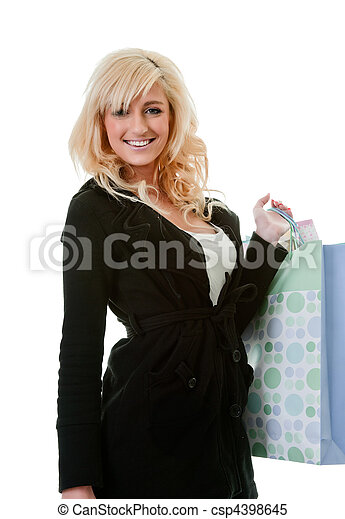 young woman shopping isolated on white - csp4398645