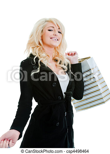 young woman shopping isolated on white - csp4498464
