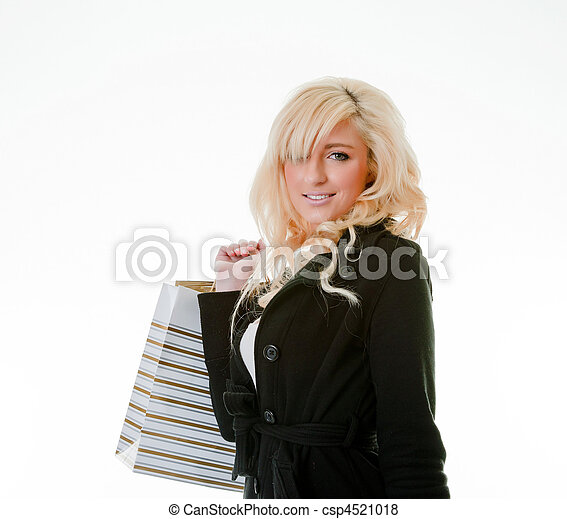 young woman shopping on white - csp4521018