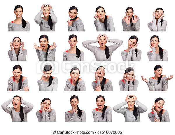 Young woman showing several expressions, isolated - csp16070605