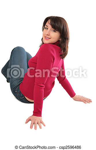 Young woman sits on floor - csp2596486