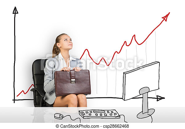 Young woman sitting in chair - csp28662468