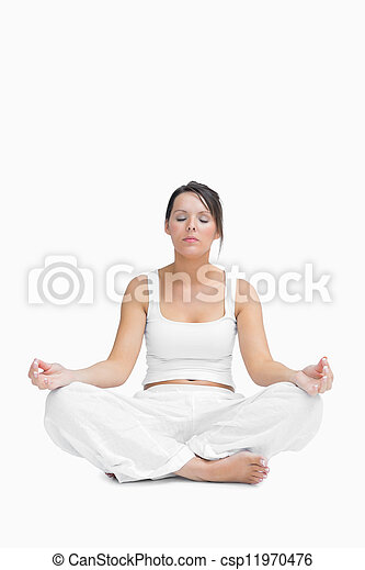 young woman sitting in lotus position over white background