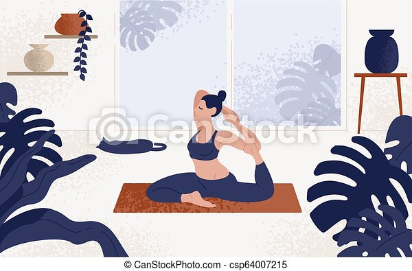 Young Woman Sitting In Yoga Posture And Meditating Girl Performing Aerobics Exercise And Morning Meditation At Home