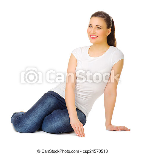 Young woman sitting on the floor - csp24570510