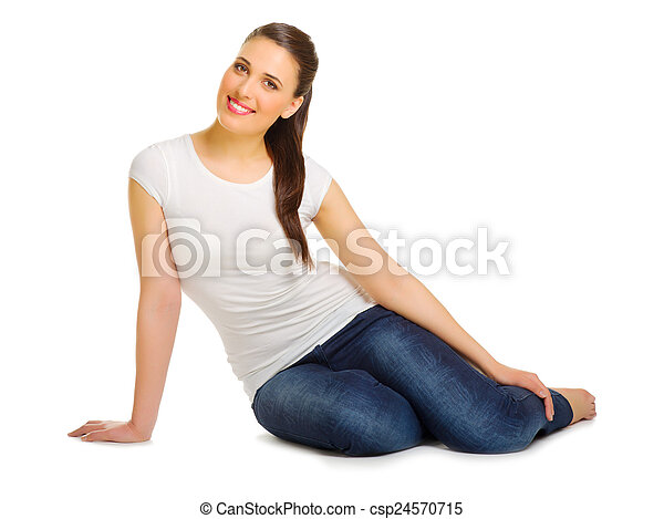 Young woman sitting on the floor - csp24570715