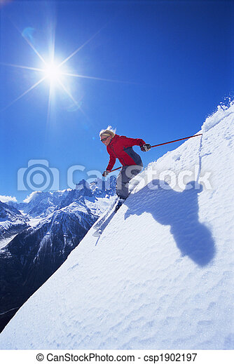 Young woman skiing - csp1902197