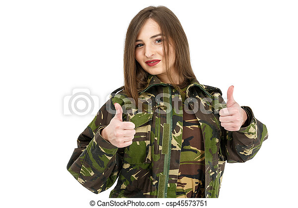 young woman soldier in military camouflage outfit showing peace sign, ok - csp45573751