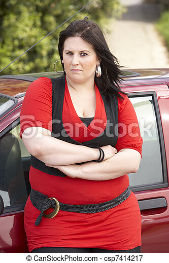 Young Woman Standing Next To Car - csp7414217