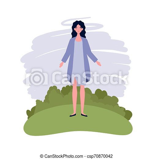 young woman standing with landscape background - csp70870042