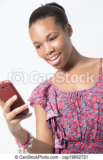 Young woman surprise while texting message phone - csp19652721