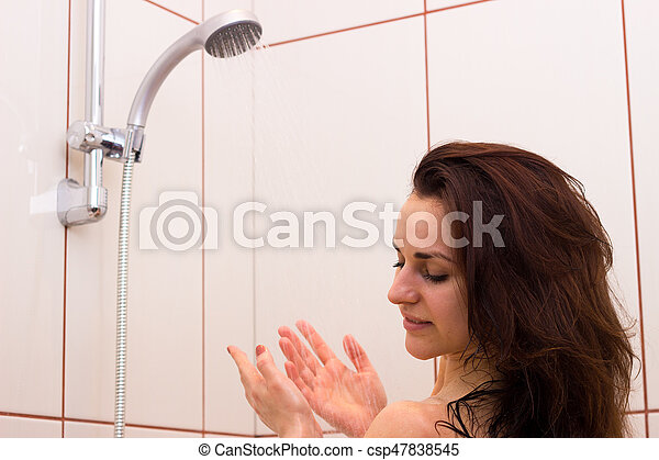 Young Woman Taking Shower Nice Young Woman With Long Dark Hair