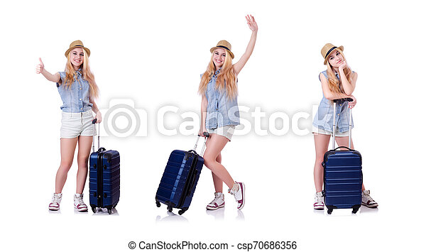 Young woman traveller isolated on white - csp70686356