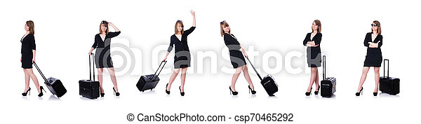 Young woman traveller isolated on white - csp70465292