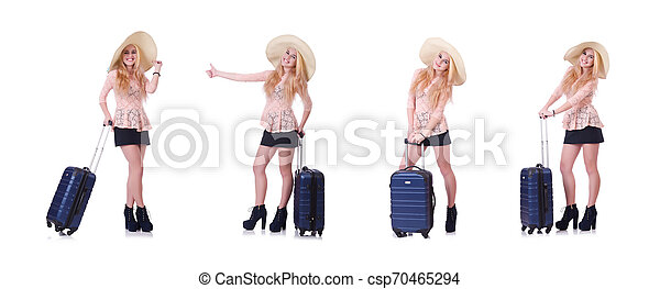 Young woman traveller isolated on white - csp70465294