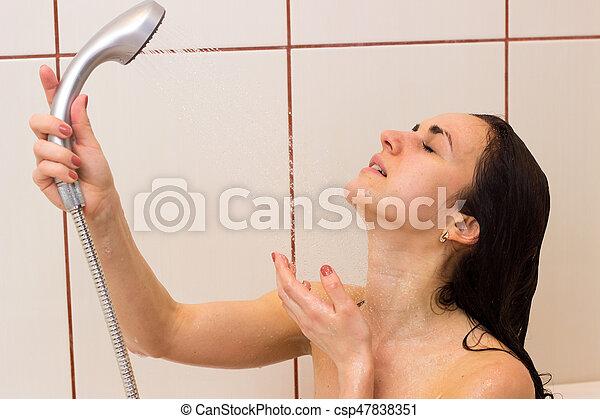Young Woman Washing Her Hair In Shower Young Nice Woman Washing