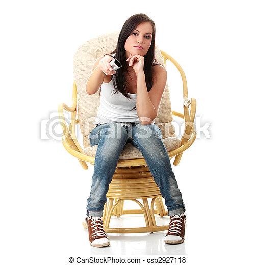 Young woman watching TV - csp2927118