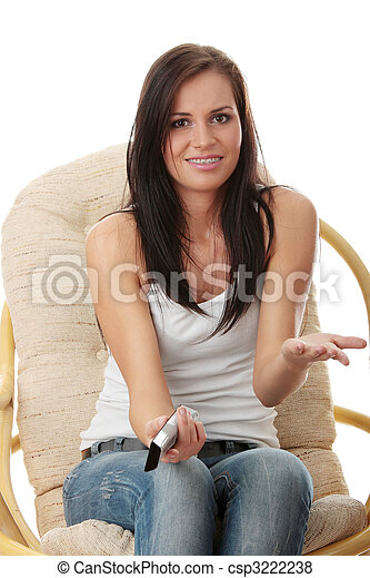 Young woman watching TV - csp3222238