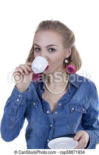 Young woman with a cup of coffee - csp58871934
