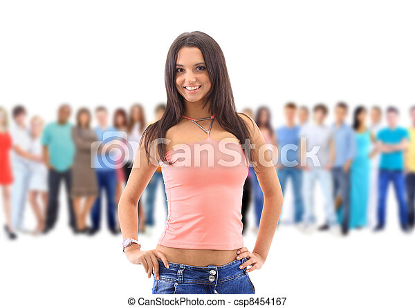 young woman with big group - csp8454167