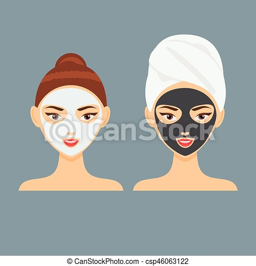 Young woman with cosmetic clay and charcoal facial mask vector illustration - csp46063122