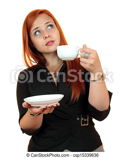 young woman with cup of coffee - csp15339636