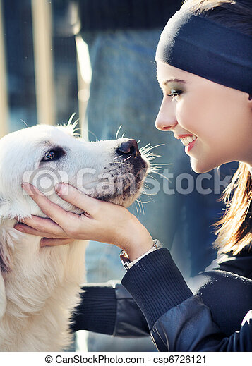 young woman with dog - csp6726121