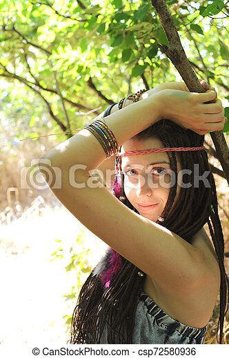Young woman with dreads portrait, outdoor - csp72580936