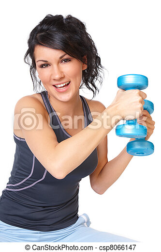 Young woman with dumbbell - csp8066147