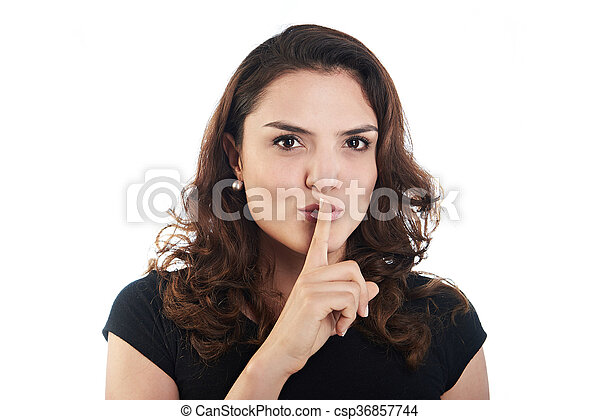 young woman with finger to lips - csp36857744