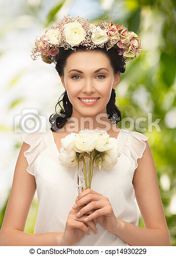 young woman with flower - csp14930229