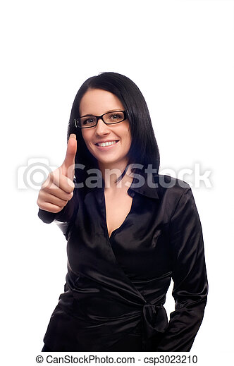 Young woman with glasses and long dark hair - csp3023210