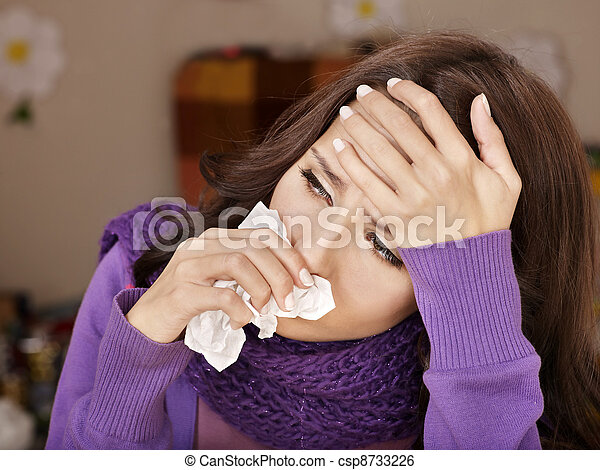 Young woman with handkerchief having  cold. - csp8733226