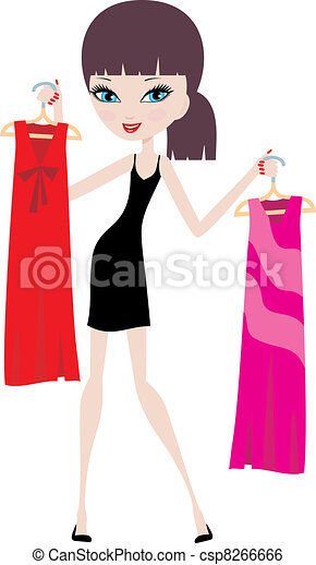 Young woman with hangers  - csp8266666