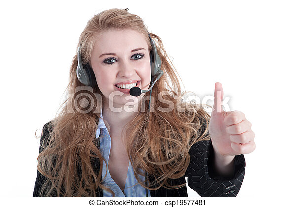 young woman with headset - csp19577481