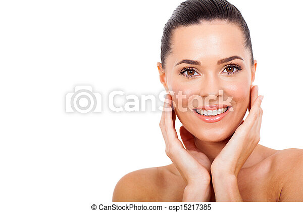 young woman with healthy skin - csp15217385