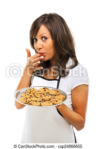 Young woman with homemade cookies - csp24866655
