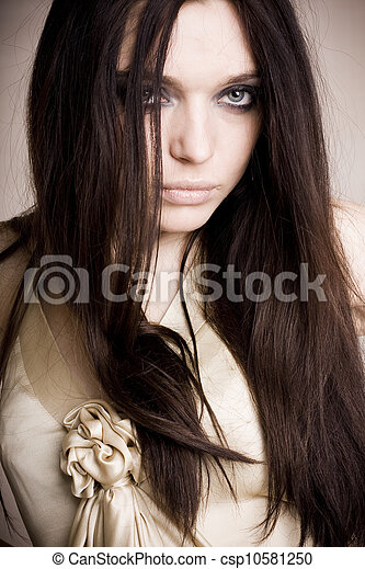 Young woman with long hair - csp10581250