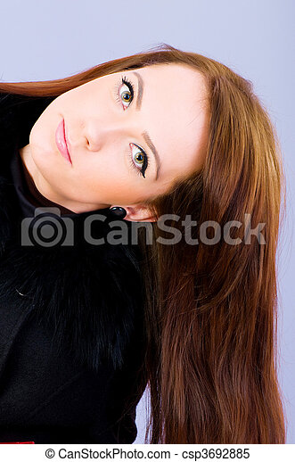 Young woman with long hair - csp3692885