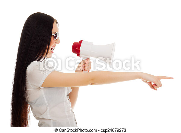 Young woman with megaphone - csp24679273
