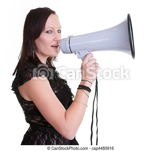 young woman with megaphone - csp4480916