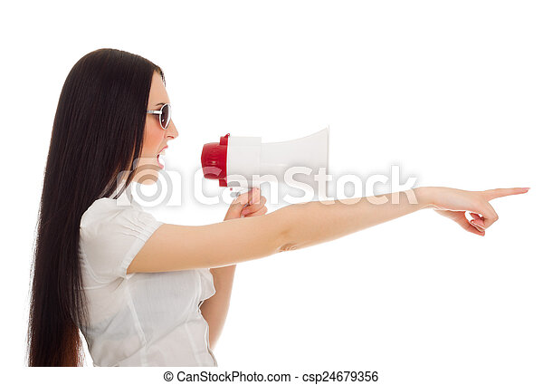 Young woman with megaphone - csp24679356