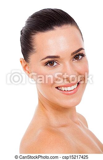young woman with natural makeup - csp15217425